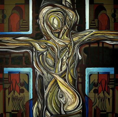 Ilustracja 4: Bez tytułu, olej na płótnie, (100 x 100 cm), 2012r.